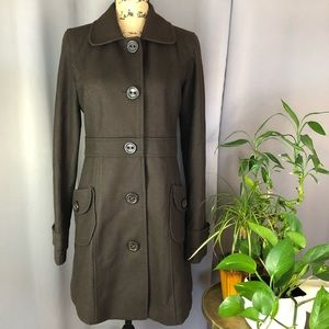 TULLE brown wool blend military style coat